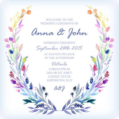 Invitación de la boda plantilla de diseño con la acuarela marco floral. Vector de fondo para las ocasiones especiales y eventos de la vida. Ilustración de vector