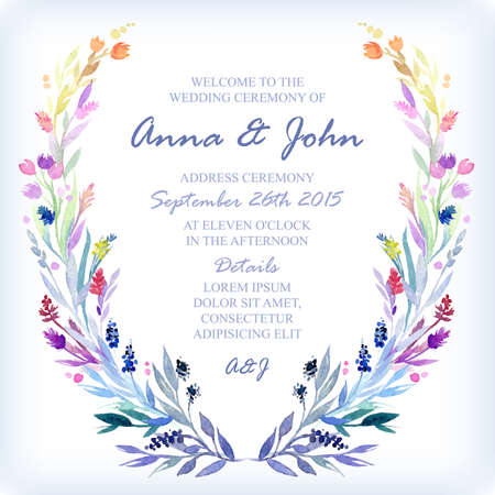 Wedding invitation design template with watercolor floral frame. Vector background for special occasions & life events.