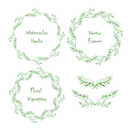 vignettes: Set of round frames and vignettes made of watercolor branches. Hand-painted watercolor elements isolated on white. Perfect for greetings, invitations, announcement,  save the date, wedding, web design