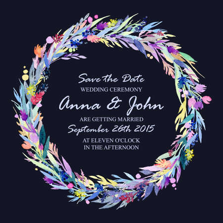 Wedding invitation design template with watercolor floral circular frame. Vector background for special occasions & life events. Save the date.