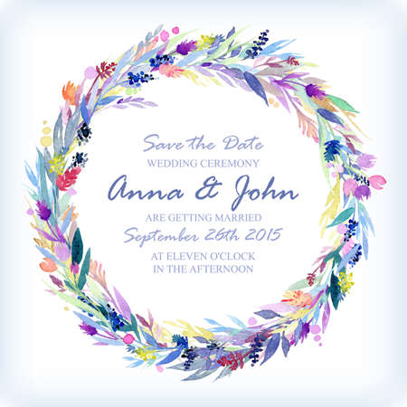 life events: Wedding invitation design template with watercolor floral circular frame. Vector background for special occasions & life events. Save the date.