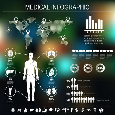body shape: Medical infographics elements. Human body with internal organs. Vector illustration.