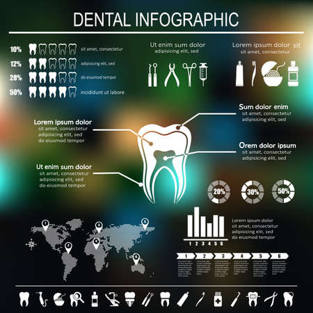 health care protection: Dental and teeth care infographics. Tooth treatment, prevention and prosthetics. Set of flat vector dental icons. Illustration