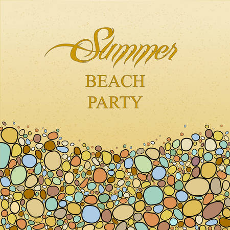 pebble: Card with colored pebble stones in bright colors. Plaсe for your text.  Summer background, vector illustration. Perfect for greetings, invitations, announcement, web design.