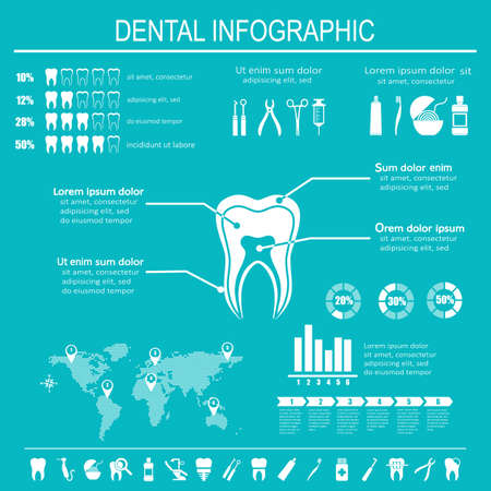 Dental and teeth care infographics. Tooth treatment, prevention and prosthetics. Set of flat vector dental icons. Ilustração