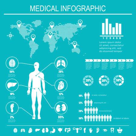 cuerpo humano: Infografía médica elementos. Cuerpo humano con los órganos internos. Ilustración del vector.
