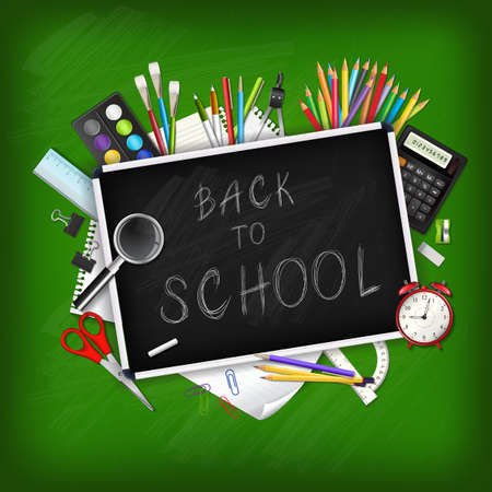 Back to school background with supplies tools and chalkboar. Place for your text. Chalky lettering. Layered realistic vector illustration.