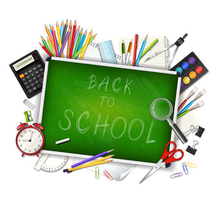 school desk: Back to school background with supplies tools and chalkboar isolated on white background. Place for your text. Chalky lettering. Layered realistic vector illustration.