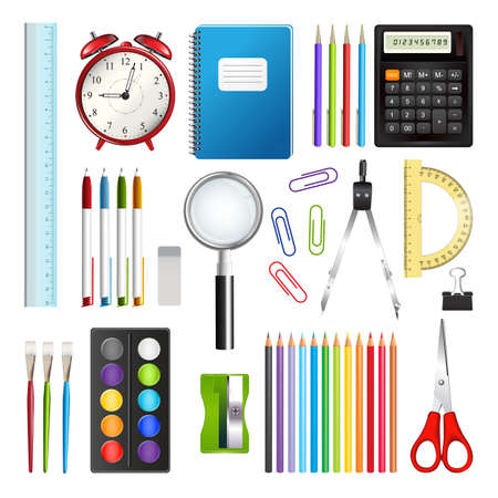 Set of school supplies isolated on white background. Realistic vector illustration. Ilustração