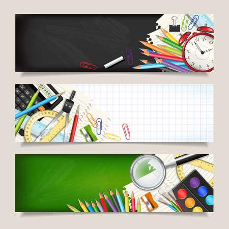 Vector set van drie terug naar school horizontale banners. Sjablonen met hulpmiddelen levering. Plaats voor uw tekst. Plaats voor uw tekst. Gelaagde realistische vectorillustratie.