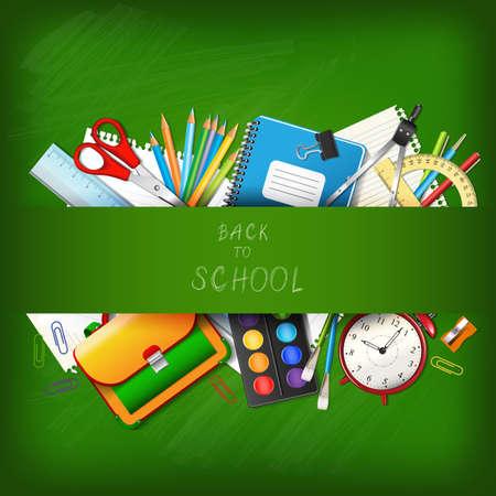 school bag: Volver a la escuela de fondo con fuentes herramientas a bordo. Lugar para el texto. Capas de ilustración vectorial realista.