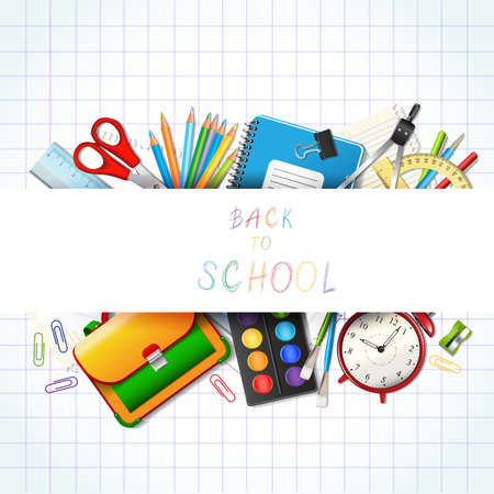 utiles escolares: Volver a la escuela de fondo con fuentes herramientas. Lugar para el texto. Capas de ilustración vectorial realista. Vectores