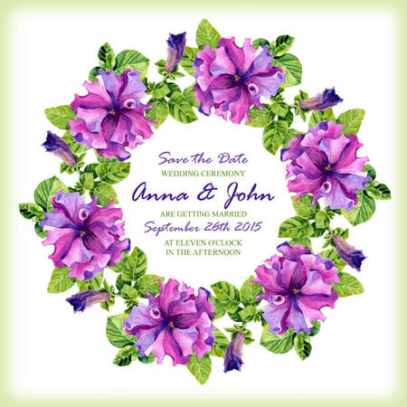 special occasions: Wedding invitation design template with watercolor floral circular frame. Vector background for special occasions & life events. Save the date.