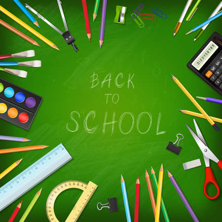 draftsmanship: Back to school background with supplies tools on board. Place for your text. Layered realistic vector illustration.