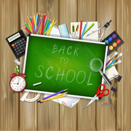 supplies: Back to school background with supplies tools and chalkboar on wood background. Place for your text. Chalky lettering. Layered realistic vector illustration. Illustration