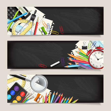 Vector set of three back to school horizontal banners. Templates with supplies tools. Place for your text. Place for your text. Layered realistic vector illustration.