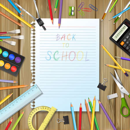 draftsmanship: Back to school background with supplies tools and sheet of notebook on wood background. Place for your text. Layered realistic vector illustration.