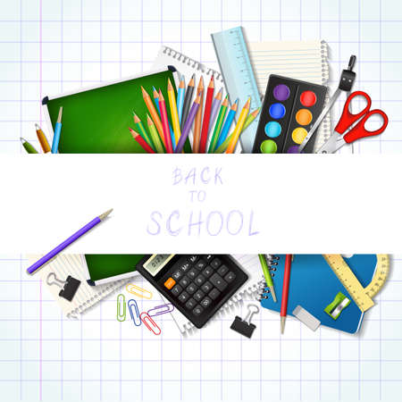 draftsmanship: Back to school background with supplies tools. Place for your text. Layered realistic vector illustration.