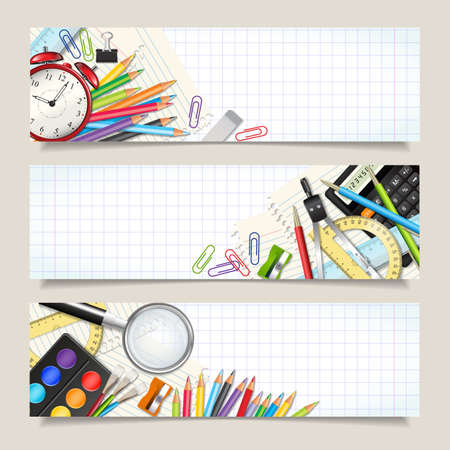 three layered: Vector set of three back to school horizontal banners. Templates with supplies tools on sheet in a cage. Place for your text. Layered realistic vector illustration.