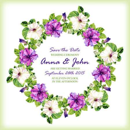invitation frame: Wedding invitation design template with watercolor floral circular frame. Vector background for special occasions & life events. Save the date.