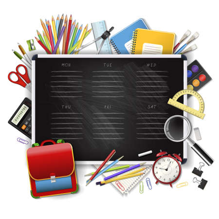 classes schedule: School timetable on black classroom chalkboard with supplies tools. School hand drawn schedule. Layered realistic vector illustration. Illustration