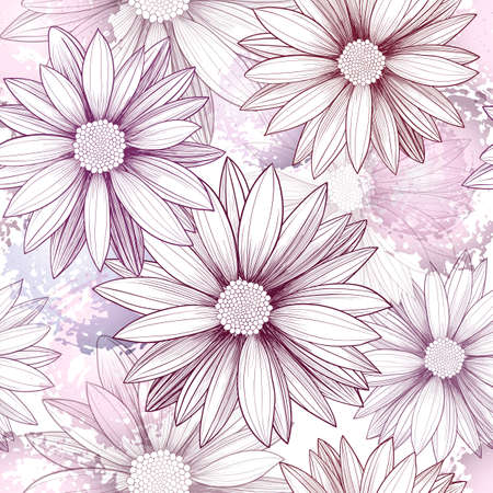 garden flower: Vector seamless pattern with hand-drawn flowers and imitation of watercolor spots. Background with purple and pink Arctotis. Vintage style. Perfect for manufacture wrapping paper, textile, web design. Illustration