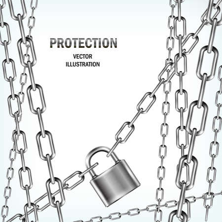 padlock: Padlock and many chains isolated on white background. Concept of protection. Security design. Vector realistic illustration.