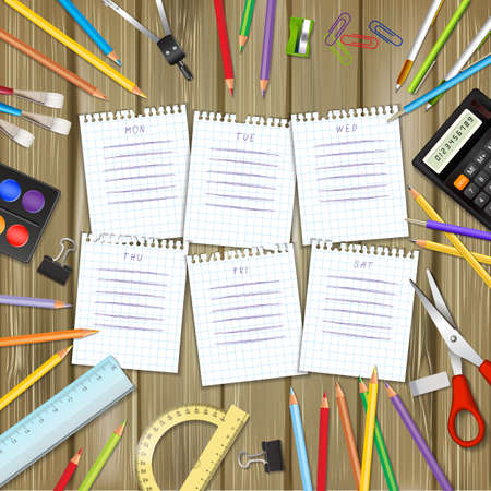 classes schedule: School timetable on sheets of checkered paper with supplies tools on wood background. School hand-drawn schedule on notepad pages. Layered realistic vector illustration.