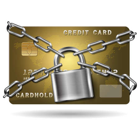 Credit card with chains and pad lock. Concept of protection. Vector realistic illustration