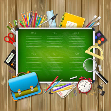 School timetable on green classroom chalkboard with supplies tools on wood background. School hand drawn schedule. Layered realistic vector illustration. Stock Illustratie