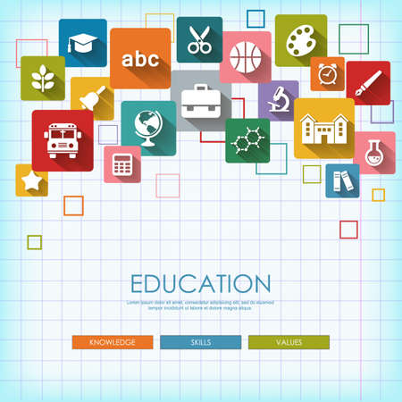 teacher and student: Background with vector School and Education flat icons, white on colored basis with long shadow. Education background on notepad page