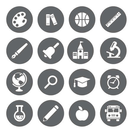 basis: Vector School and Education flat icons, white on grey basis. Illustration