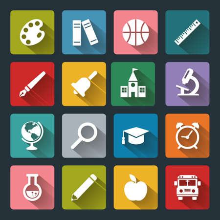 basis: Vector School and Education flat icons, white on colored square basis. Illustration