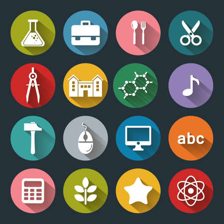 Vector School and Education flat icons, white on colored basis with long shadow