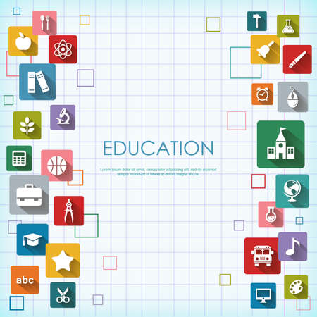basis: Background with vector School and Education flat icons, white on colored basis with long shadow. Education background on notepad page