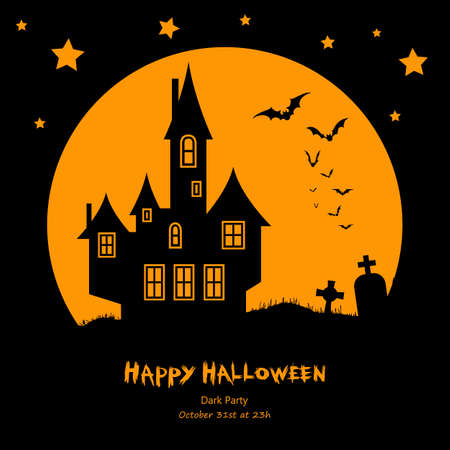 gothic background: Halloween vector background with full moon, bats,  silhouettes of houses and cemetery. Perfect for banners, invitations, cards, web design.