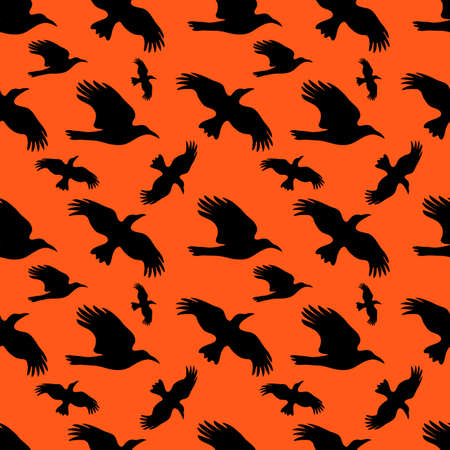 crow: Seamless background with silhouettes of crows. A flock of flying crows in the sunset sky background. Halloween illustration. Illustration