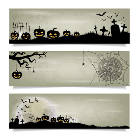 spider web: Set of horizontal banners with Happy Halloween background. Moon, bats, spider web, spider and halloween lanterns.