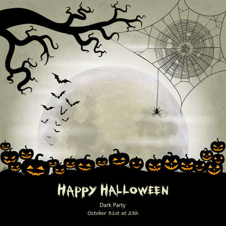 spider web: Halloween vector background with moon, bats, spider web, spider and halloween lanterns