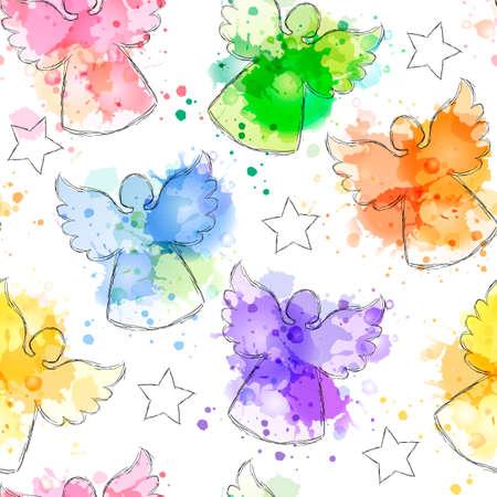 Nahtlose Hintergrund mit Hand gezeichnet Silhouetten von Engel und Sterne. Vector Imitation Aquarell Textur. Perfekt für Weihnachten und Neujahr Grüße, Einladungen, Geschenkpapier, Textil-, Web-Design. Standard-Bild - 48719073