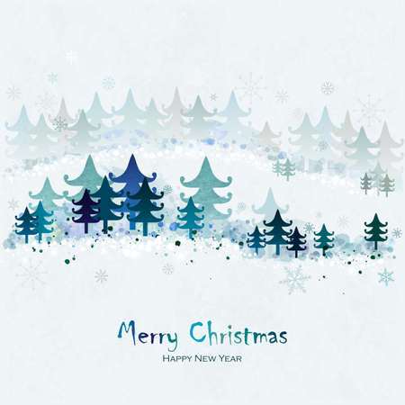Merry Christmas and Happy New Year Greeting Card with fir trees. Winter landscape. Snowy forest. Vector imitation of watercolor texture. Place for text.