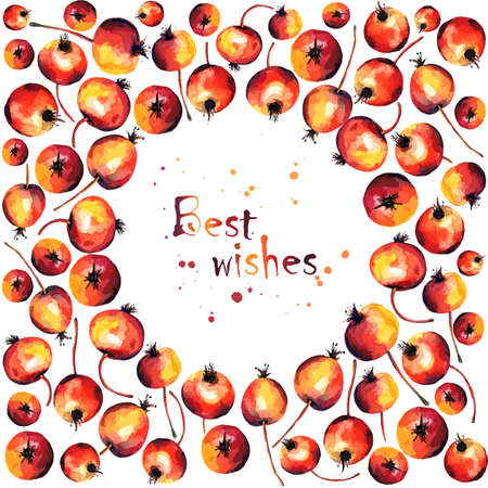 special events: Beautiful card for a special events. Frame of  watercolor red apples. Place for your text. Vector illustration. Perfect for greetings, invitations, announcement, wedding and web design.