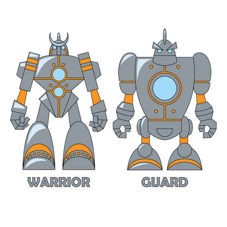 Set of two robots isolated on white background. Vector illustration. Warrior and Guard. Cartoon  illustration for your design.