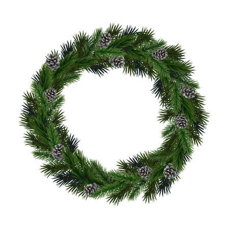 pine cones: Realistic wreath of fir branches with  pine cones. Vector illustration for Christmas and New Year design.