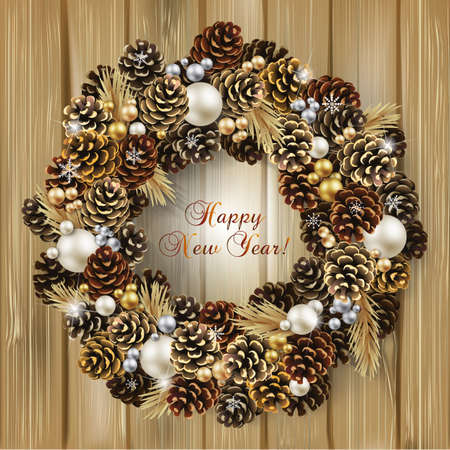 Card for the winter holidays with a realistic wreath of fir cones, fir branches and beads on wood background. Place for text. Christmas and New Year design.