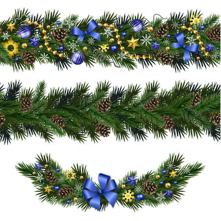 pinecone: Seamless design elements for Christmas and New Year design isolated on white background. Garlands and vignette of fir branches with snowflakes, branches, pine cones, ribbons, stars, beads. Illustration
