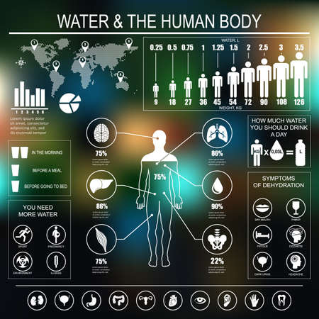 cuerpo humano: Agua y infografía cuerpo humano en el fondo oscuro. Datos útiles sobre agua. Concepto de estilo de vida saludable. Bebe mas agua. Vectores