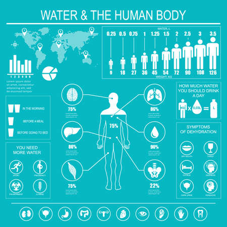 more information: Water and human body infographic on blue background. Useful information about water. Concept of healthy lifestyle. Drink more water.