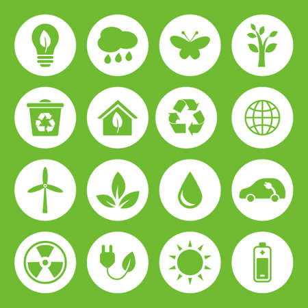 green environment: Set of vector Eco Icons in flat style, green on white basis. Ecology, Nature, Energy, Environment and Recycle Icons. Illustration