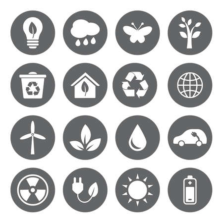 Set of vector Eco Icons in flat style, white on grey basis. Ecology, Nature, Energy, Environment and Recycle Icons. Stock Illustratie
